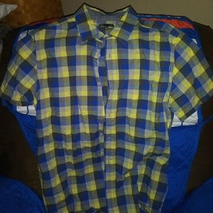 GAP Shirts - Gap Men's Blue Yellow Checked Short Sleeve Button